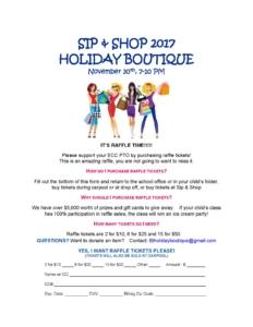 Sip and Shop 2017 raffle flyer