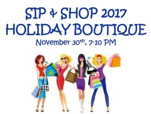 Sip and Shop 2017 sign