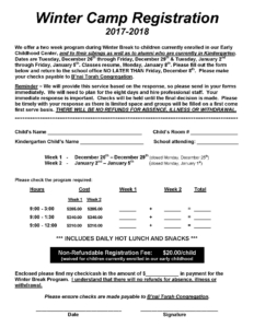 Winter Camp registration 2017